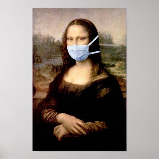 Mona Lisa with Mask Poster