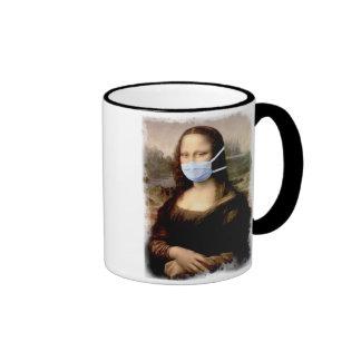 Mona Lisa with Mask Ringer Coffee Mug