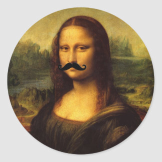 Mona Lisa With Mustache Classic Round Sticker