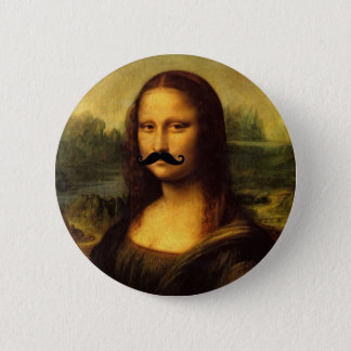 Mona Lisa With Mustache Pinback Button