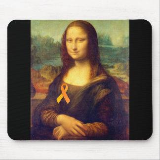 Mona Lisa With Orange Ribbon Mouse Pad