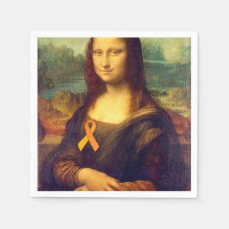 Mona Lisa With Orange Ribbon Paper Napkin