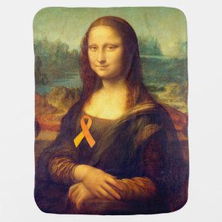 Mona Lisa With Orange Ribbon Swaddle Blanket