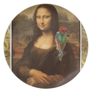 Mona Lisa With Parrot Dinner Plate