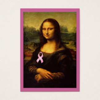 Mona Lisa With Pink Ribbon Business Card