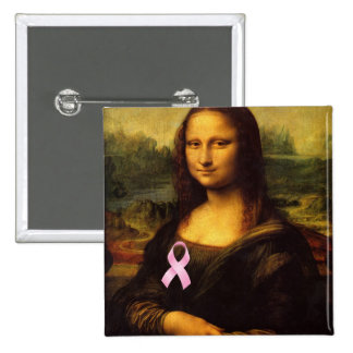 Mona Lisa With Pink Ribbon Button