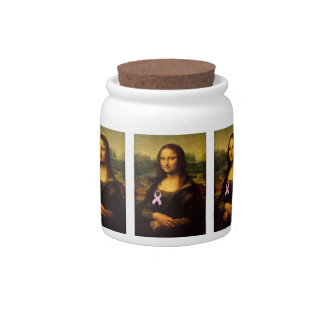 Mona Lisa With Pink Ribbon Candy Dishes