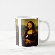 Mona Lisa With Pink Ribbon Classic White Coffee Mug