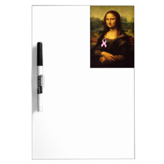 Mona Lisa With Pink Ribbon Dry Erase Board