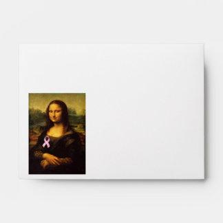 Mona Lisa With Pink Ribbon Envelope