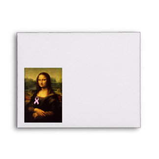 Mona Lisa With Pink Ribbon Envelope