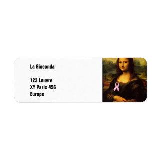 Mona Lisa With Pink Ribbon Label