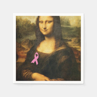 Mona Lisa With Pink Ribbon Napkin