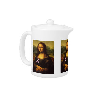 Mona Lisa With Pink Ribbon Teapot