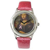 Mona Lisa With Pink Ribbon Wristwatch