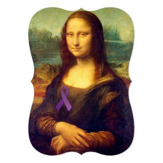 Mona Lisa With Purple Ribbon Card