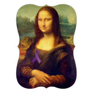 Mona Lisa With Purple Ribbon Cards