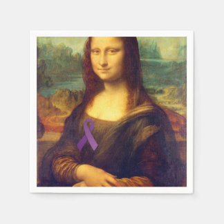 Mona Lisa With Purple Ribbon Paper Napkin