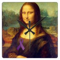 Mona Lisa With Purple Ribbon Square Wall Clocks
