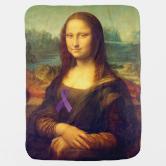Mona Lisa With Purple Ribbon Receiving Blankets