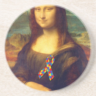 Mona Lisa With Puzzle Ribbon Coaster