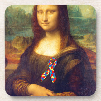 Mona Lisa With Puzzle Ribbon Coasters