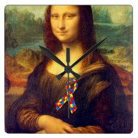 Mona Lisa With Puzzle Ribbon Square Wallclocks