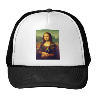 Mona Lisa With Puzzle Ribbon Trucker Hat
