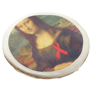Mona Lisa With Red Ribbon Sugar Cookie