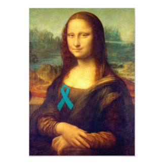 Mona Lisa With Teal Ribbon Card