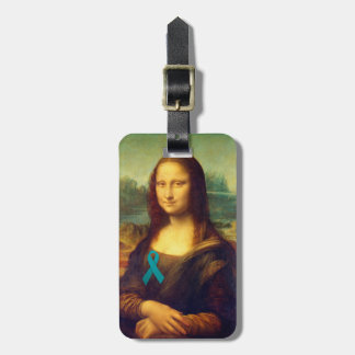 Mona Lisa With Teal Ribbon Tag For Bags