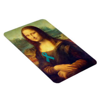 Mona Lisa With Teal Ribbon Magnet