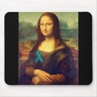 Mona Lisa With Teal Ribbon Mouse Pad