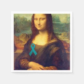 Mona Lisa With Teal Ribbon Paper Napkin