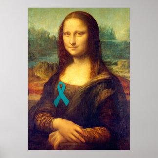 Mona Lisa With Teal Ribbon Poster
