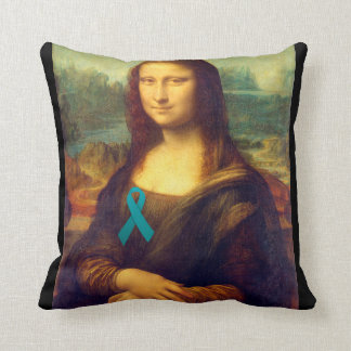 Mona Lisa With Teal Ribbon Throw Pillow