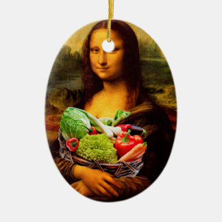 Mona Lisa With Vegetables Ceramic Ornament