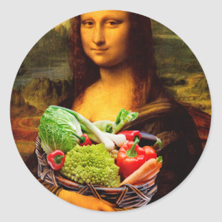 Mona Lisa With Vegetables Round Stickers