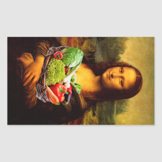 Mona Lisa With Vegetables Rectangle Stickers