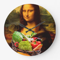 Mona Lisa With Vegetables Wall Clock