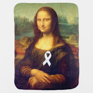 Mona Lisa With White Ribbon Stroller Blanket
