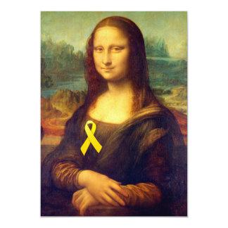 Mona Lisa With Yellow Ribbon 5x7 Paper Invitation Card