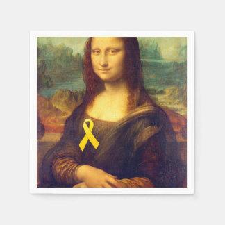 Mona Lisa With Yellow Ribbons Paper Napkin