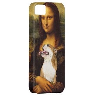 Mona Lisa y su caso del iphone del perro de Bull iPhone 5 Case-Mate Carcasa