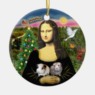 Mona Lisa y sus dos conejillos de Indias Adorno Redondo De Cerámica