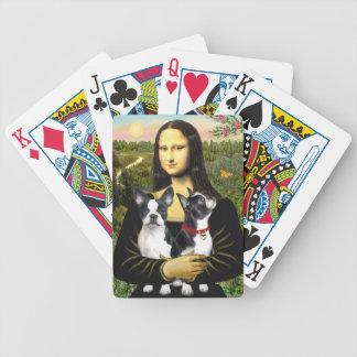 Mona Lisa y sus dos terrieres de Boston Barajas De Cartas