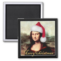 Mona Lisa's Christmas Santa Hat 2 Inch Square Magnet