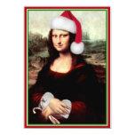 Mona Lisa's Christmas Santa Hat 5x7 Paper Invitation Card