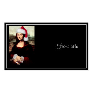 Mona Lisa's Christmas Santa Hat Double-Sided Standard Business Cards (Pack Of 100)