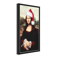 Mona Lisa's Christmas Santa Hat Canvas Print